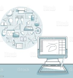 white background with silhouette color sections shading of desk computer with circular frame of elements graphic [ 1024 x 1024 Pixel ]
