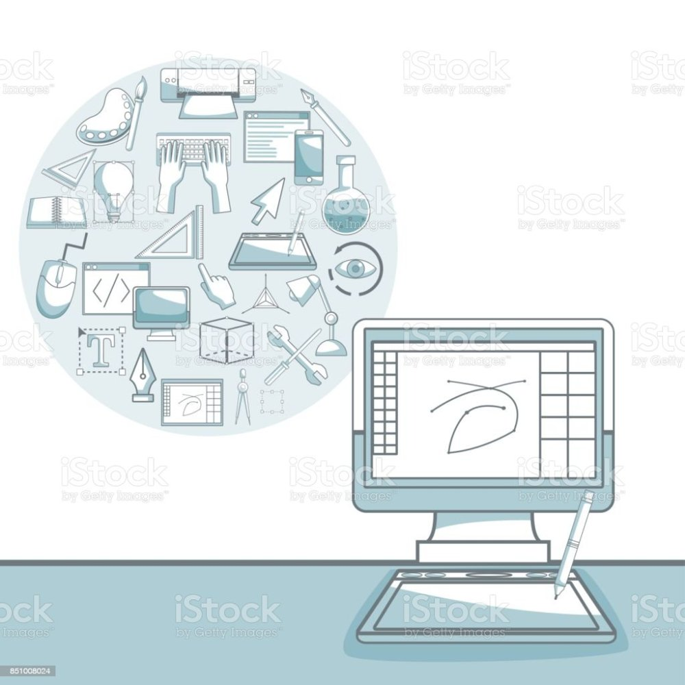 medium resolution of white background with silhouette color sections shading of desk computer with circular frame of elements graphic