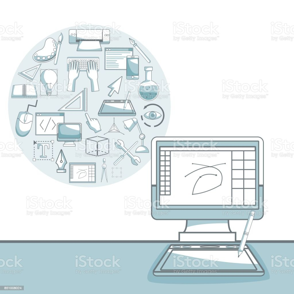 hight resolution of white background with silhouette color sections shading of desk computer with circular frame of elements graphic