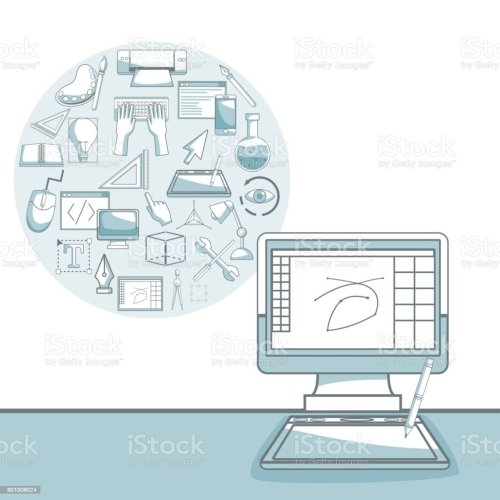 small resolution of white background with silhouette color sections shading of desk computer with circular frame of elements graphic