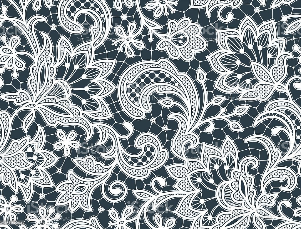 White Lace Seamless Pattern Gray Background Stock Illustration - Download Image Now - iStock