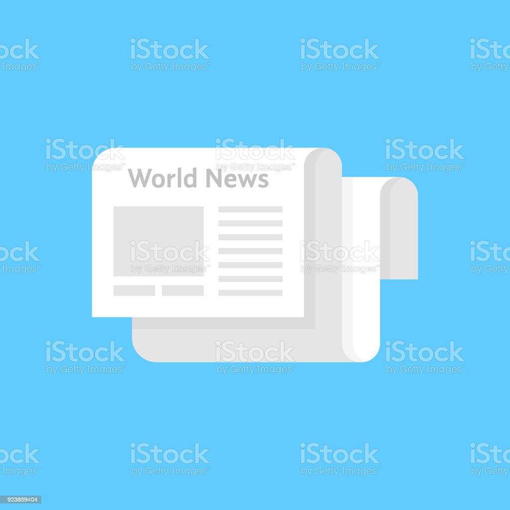 hight resolution of white newspaper icon like world news illustration