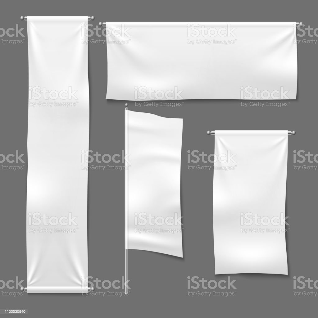 white textile banners blank