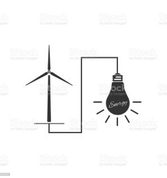 wind mill turbine generating power energy and glowing light bulb icon isolated natural renewable energy [ 1024 x 1024 Pixel ]