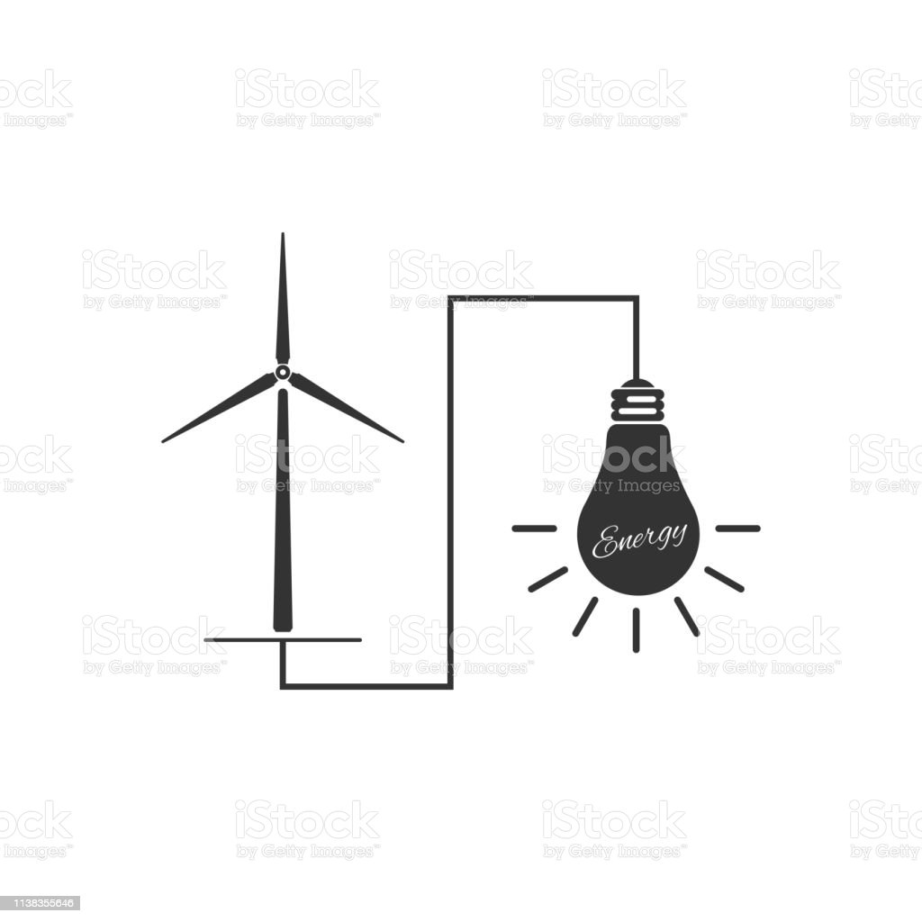 hight resolution of wind mill turbine generating power energy and glowing light bulb icon isolated natural renewable energy