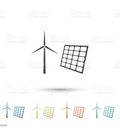 wind mill turbines generating electricity and solar panel icon isolated on white background energy alternative [ 1024 x 1024 Pixel ]