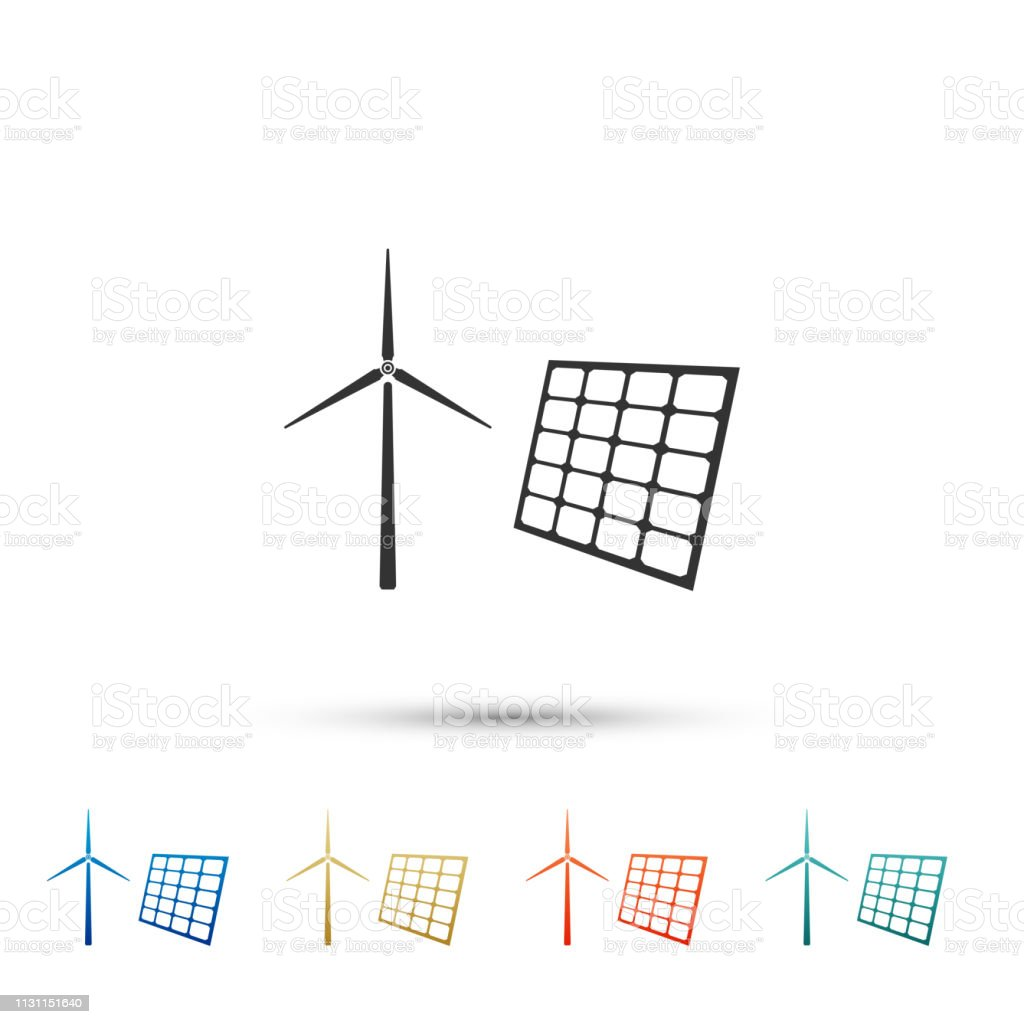 hight resolution of wind mill turbines generating electricity and solar panel icon isolated on white background energy alternative