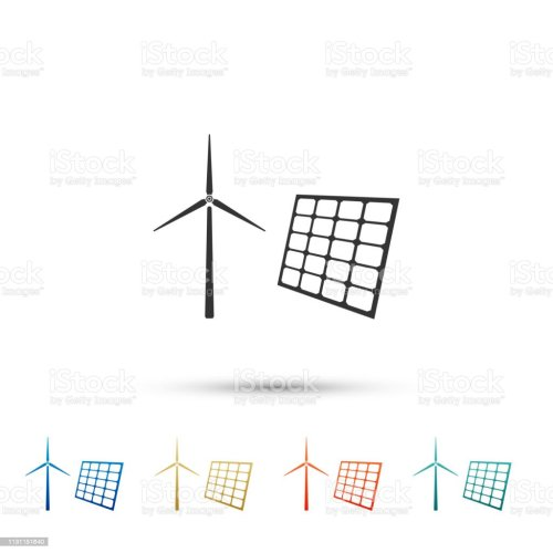 small resolution of wind mill turbines generating electricity and solar panel icon isolated on white background energy alternative