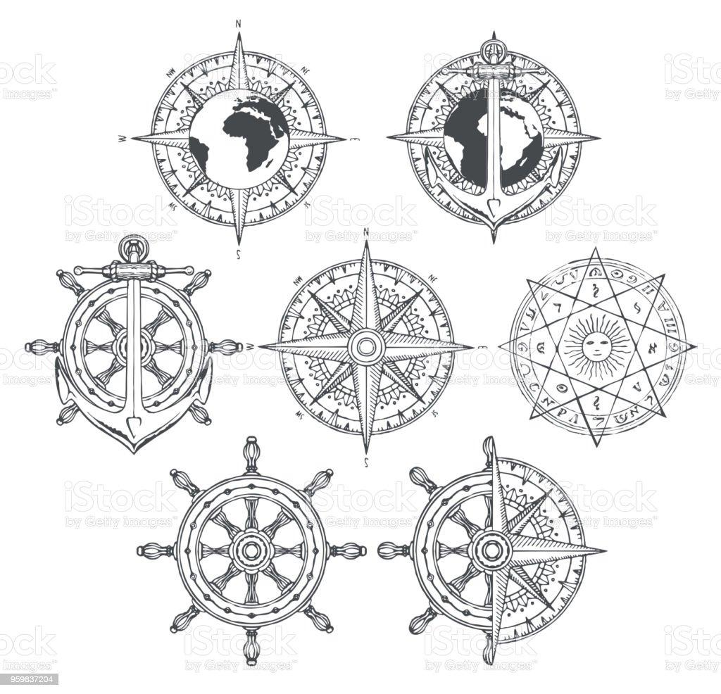 Ilustración De Rosa De Los Vientos Nave De Ancla Y Timón En Estilo