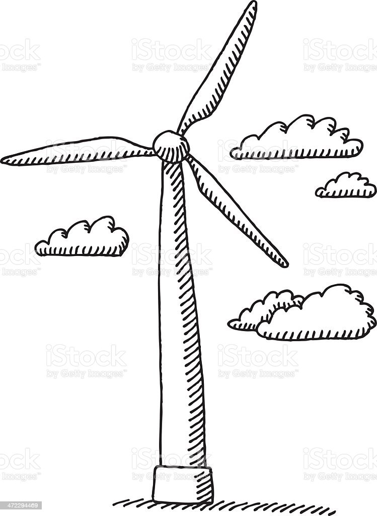Wind Turbine Clouds Drawing Stock Vector Art & More Images