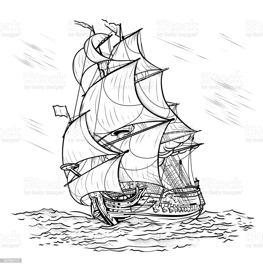 Winddriven Ship On A White Background Stock Vector Art