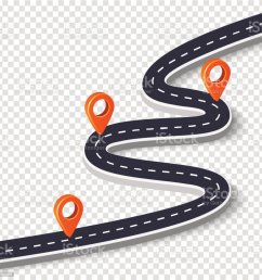 winding road isolated on a white background road way location infographic template with pin pointer vector image illustration  [ 1024 x 1023 Pixel ]
