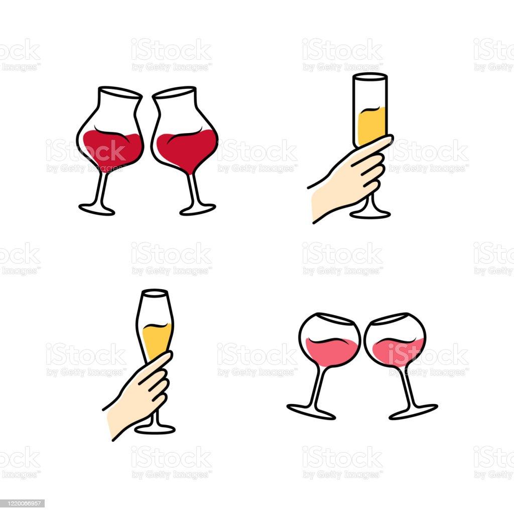 https www istockphoto com fr vectoriel ensemble dic c3 b4nes de couleur de service de vin verres clignotants de vin rouge gm1220066957 357097685