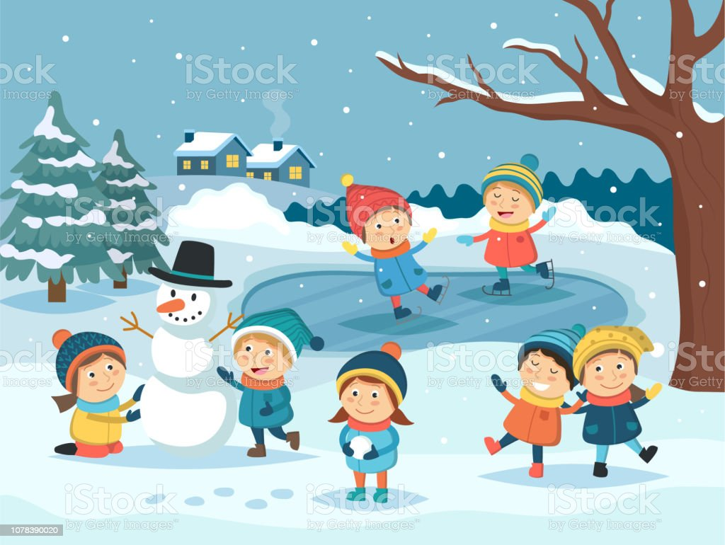 Winter Children Scene Kids Playing Outdoor In The Snow Making Snowman Ice Skating Winter Landscape Christmas And New Year Greeting Card Vector ...