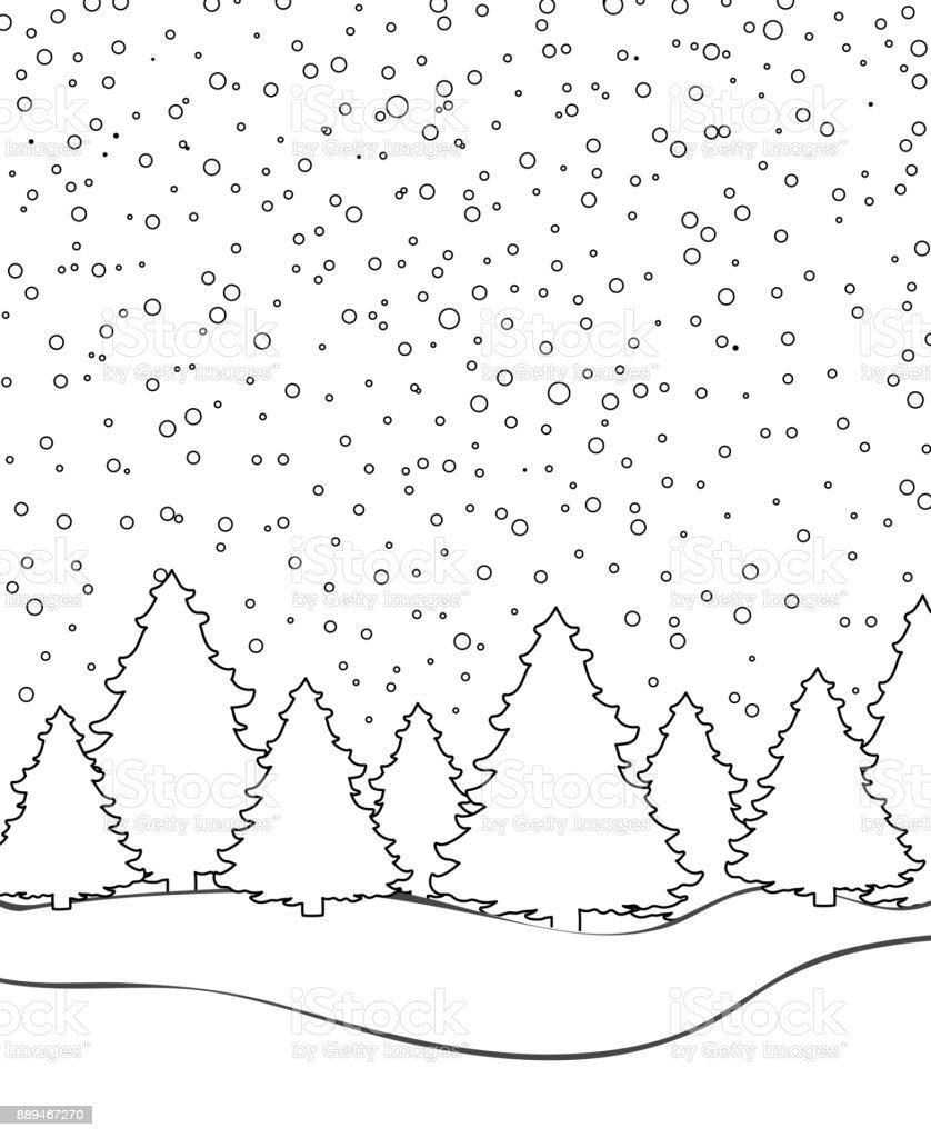 Malvorlage Winterlandschaft