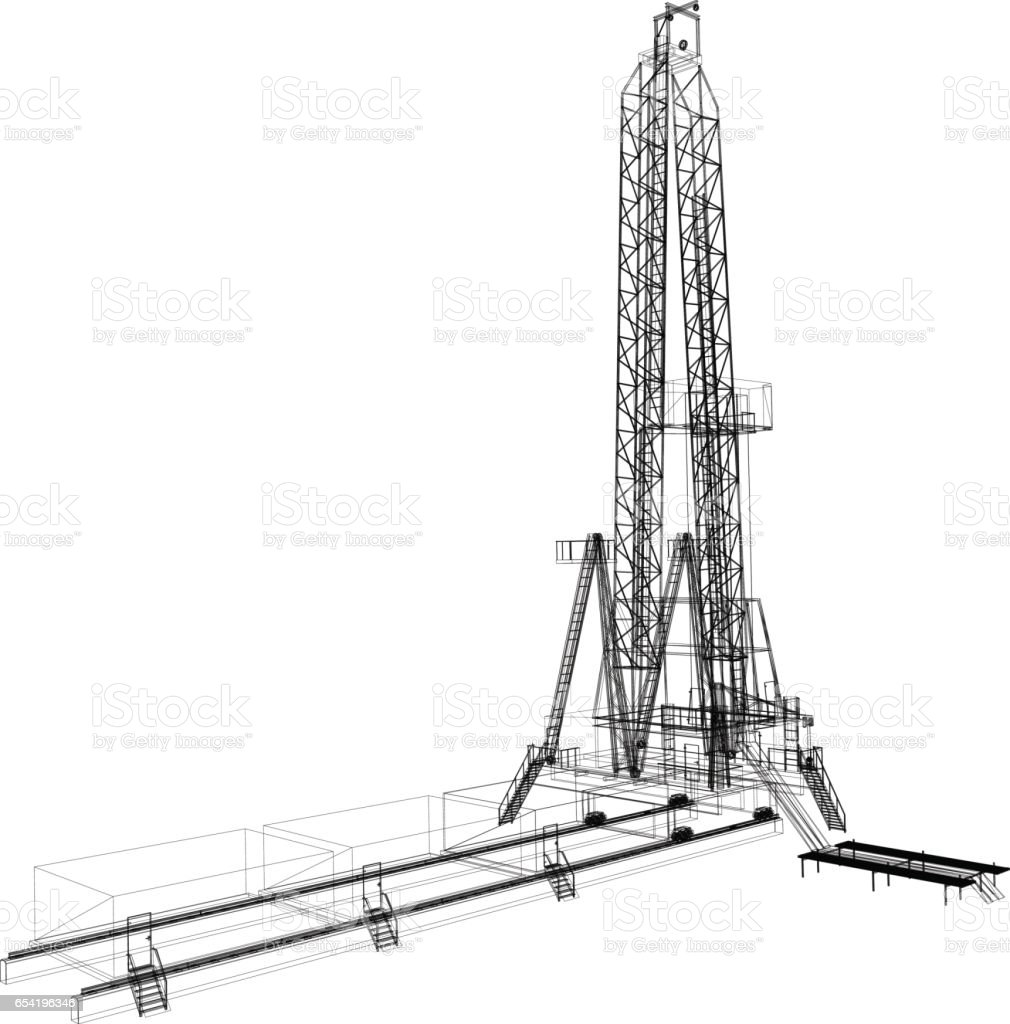 Wireframe Model Of Drilling Rig Stock Illustration