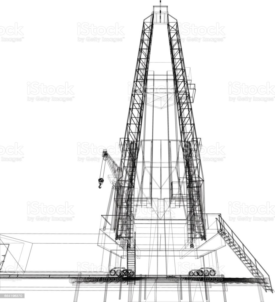 Wireframe Model Of Drilling Rig Stock Vector Art & More