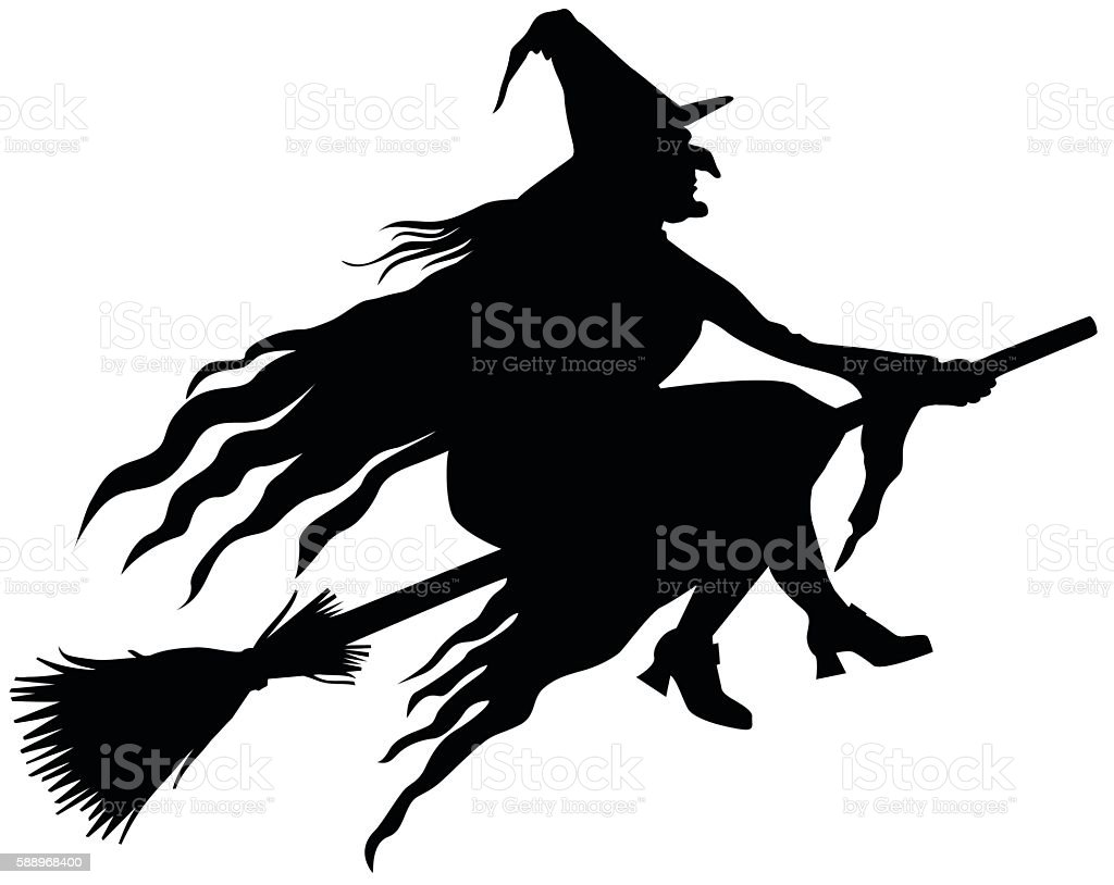 witch silhouette stock illustration
