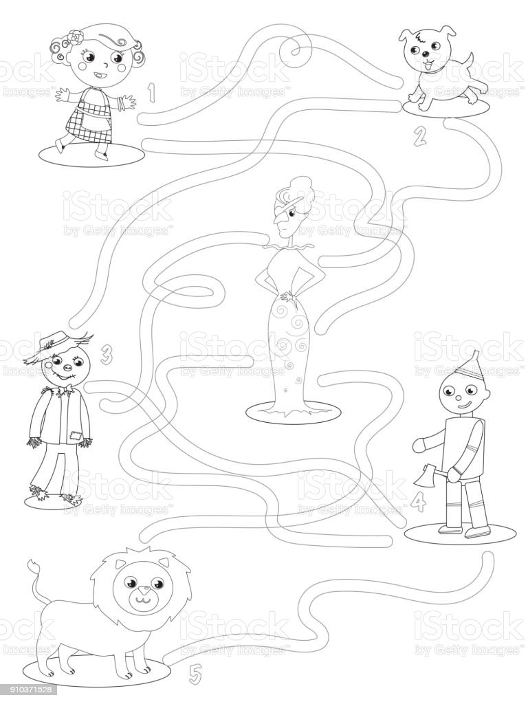 Wizard Of Oz Coloring Maze Game Help Dorothy To Find