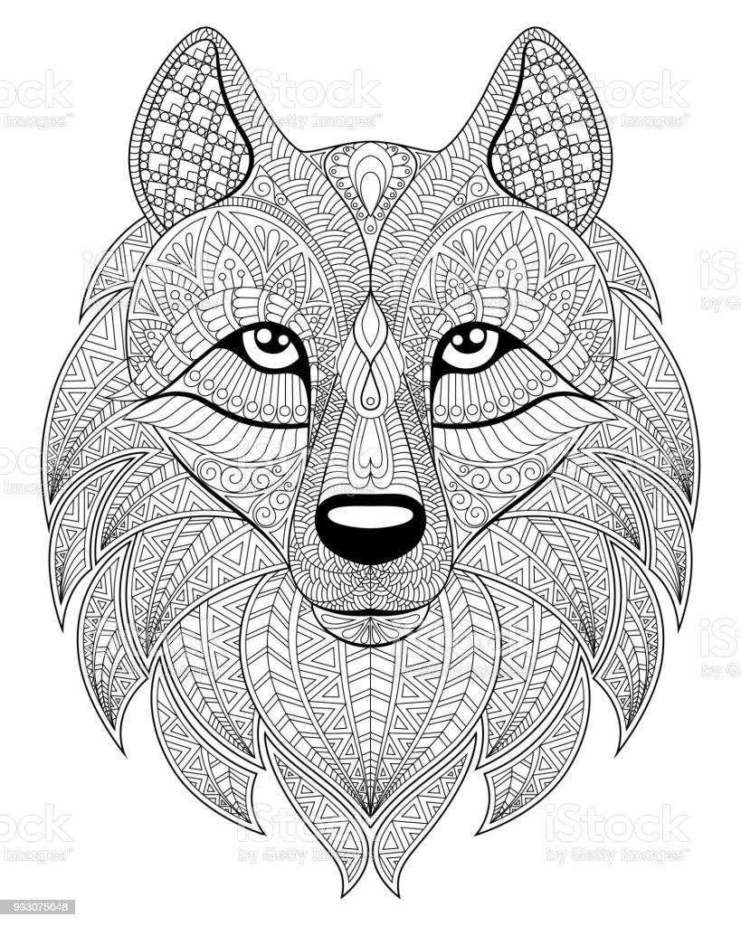 Malvorlage Wolf Kopf