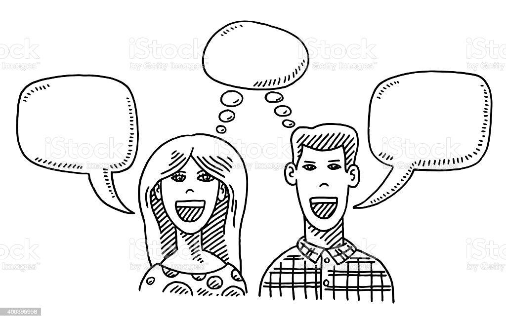 Woman And Man Thinking And Talking Drawing Stock Vector