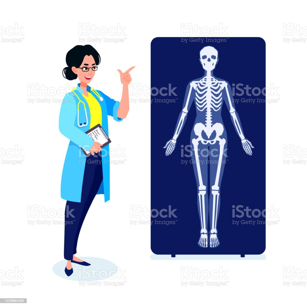 a woman doctor points her index finger at the xray image poster of the human body skeleton a happy radiologist showing roentgen stock illustration download image now istock