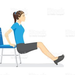 Office Chair Exercises White Folding Chairs Bulk Woman Doing Stretching With Stock Illustration