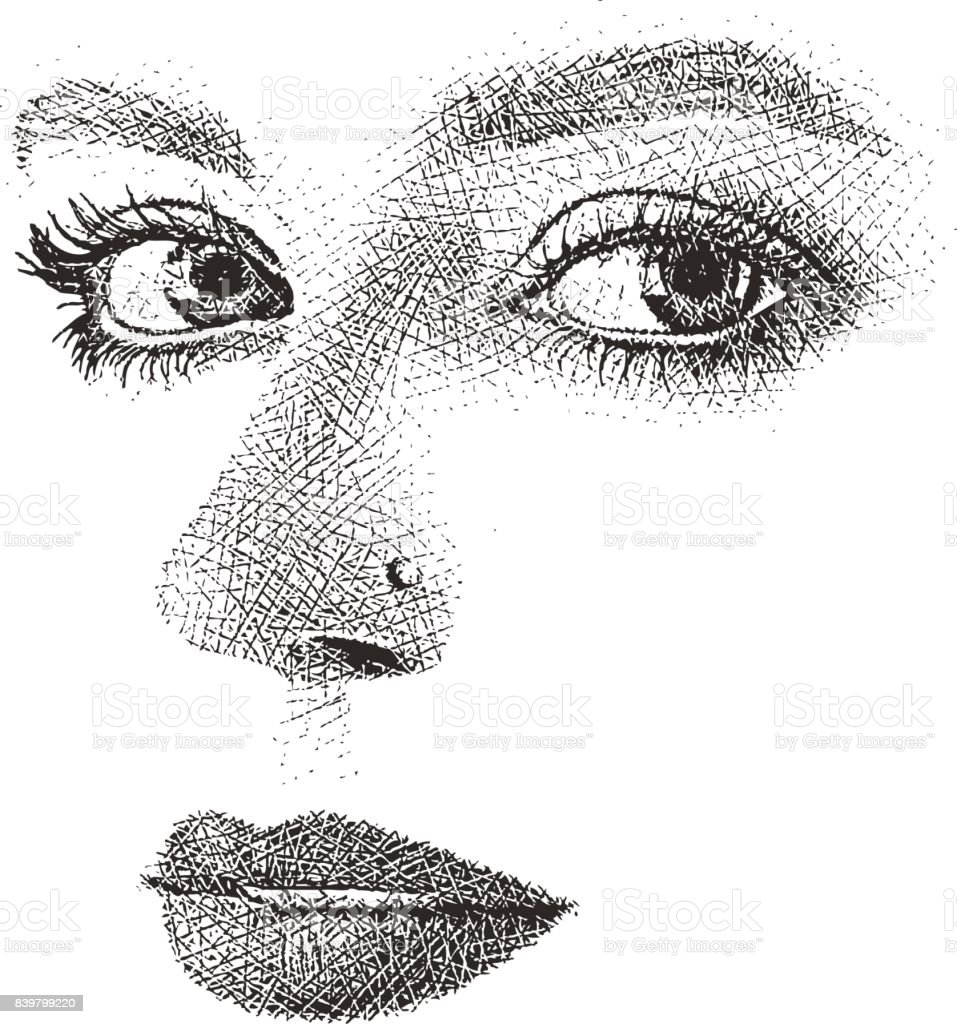 Womans Eyes Nose And Mouth High Key Cut Out Stock Vector