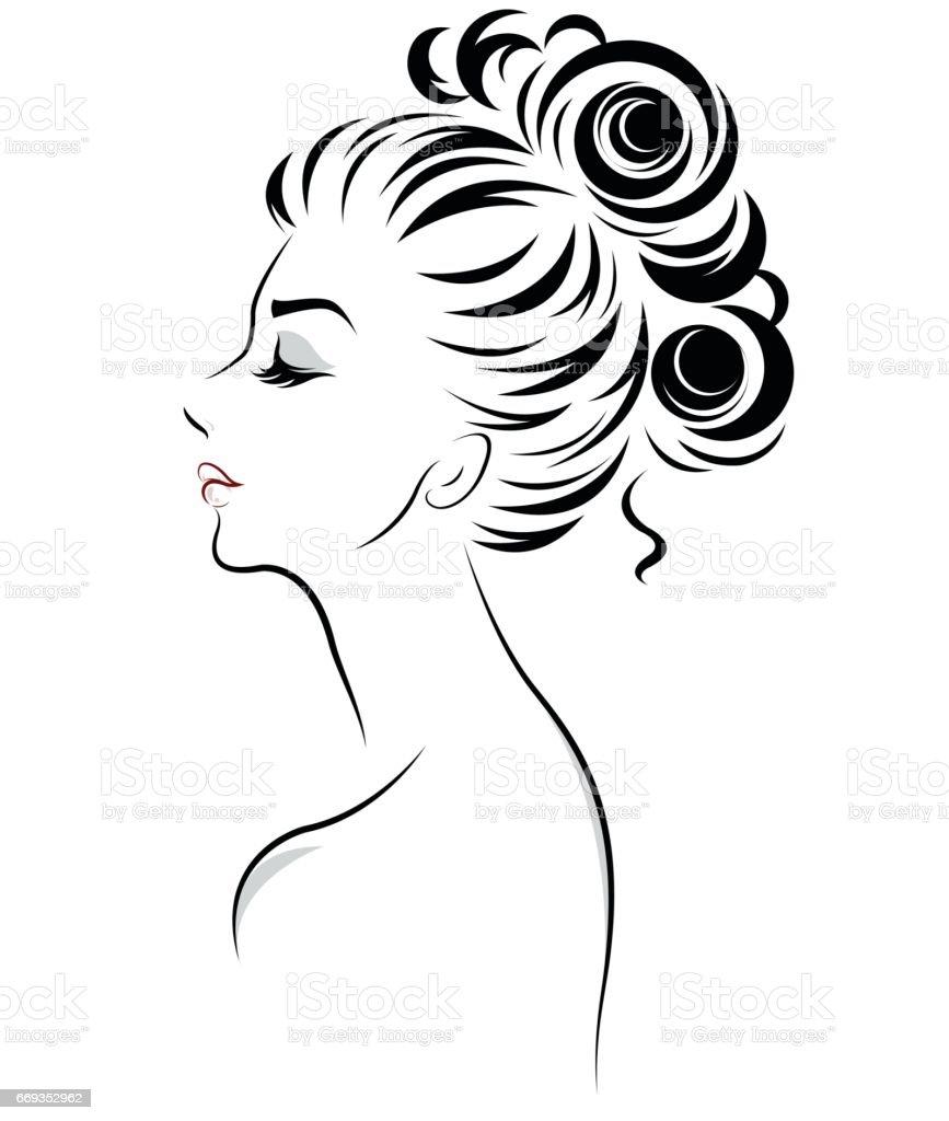Women Bun Hair Style Icon Logo Women Stock Illustration