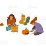 Women Decorating Carving And Painting Pumpkins Vector