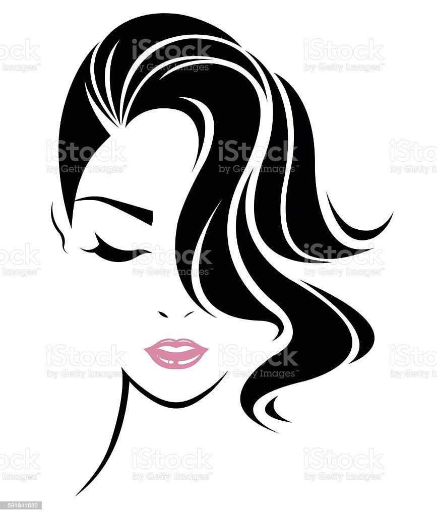 Women Hair Style Icon Logo Women Face On White Background