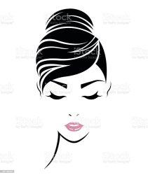 vector face hair icon bun clip het illustrations donne delle gezicht fronte capelli icona stile lange haarstijl abstract pictogram istock