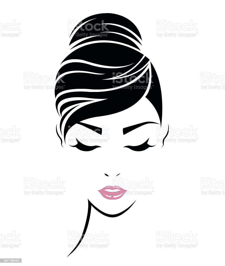 hair bun illustrations royalty-free