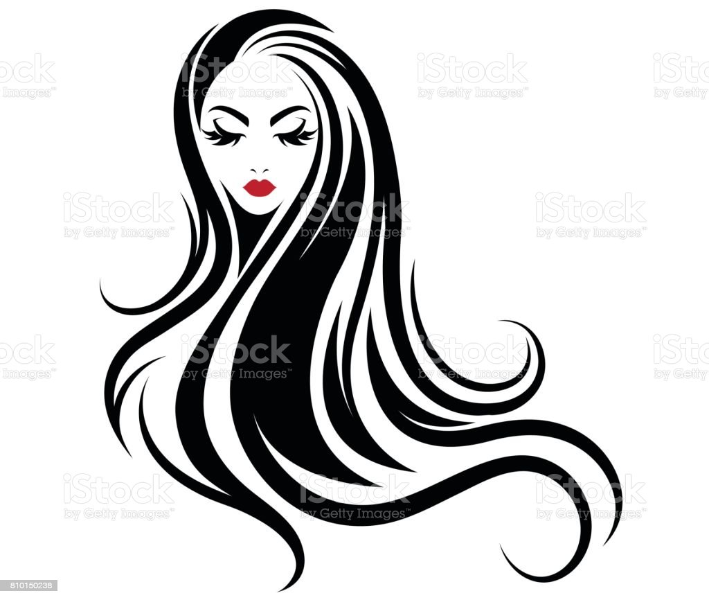 Women Long Hair Style Icon Icon Women On White Background