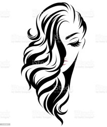 Long Hair Hair Clipart Black And White