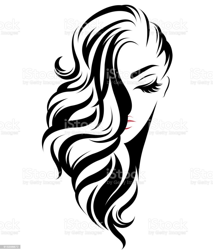 black hair clip art vector