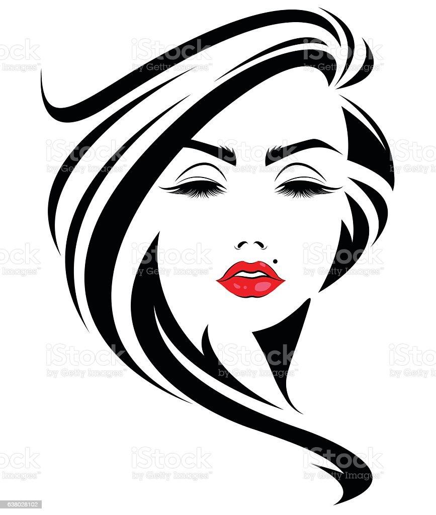 Ilustración de Mujer Con Cabello Largo Icono Y Logotipo
