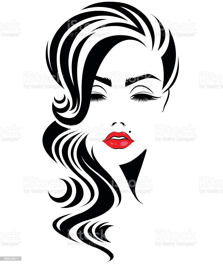 Women Long Hair Style Icon Logo Women Face stock vector