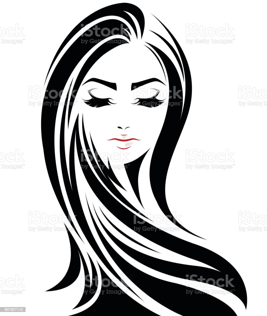 Women Long Hair Style Icon Logo Women Face Stock