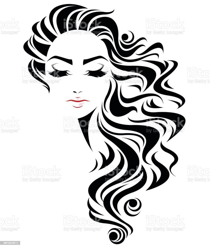 women long hair style icon logo