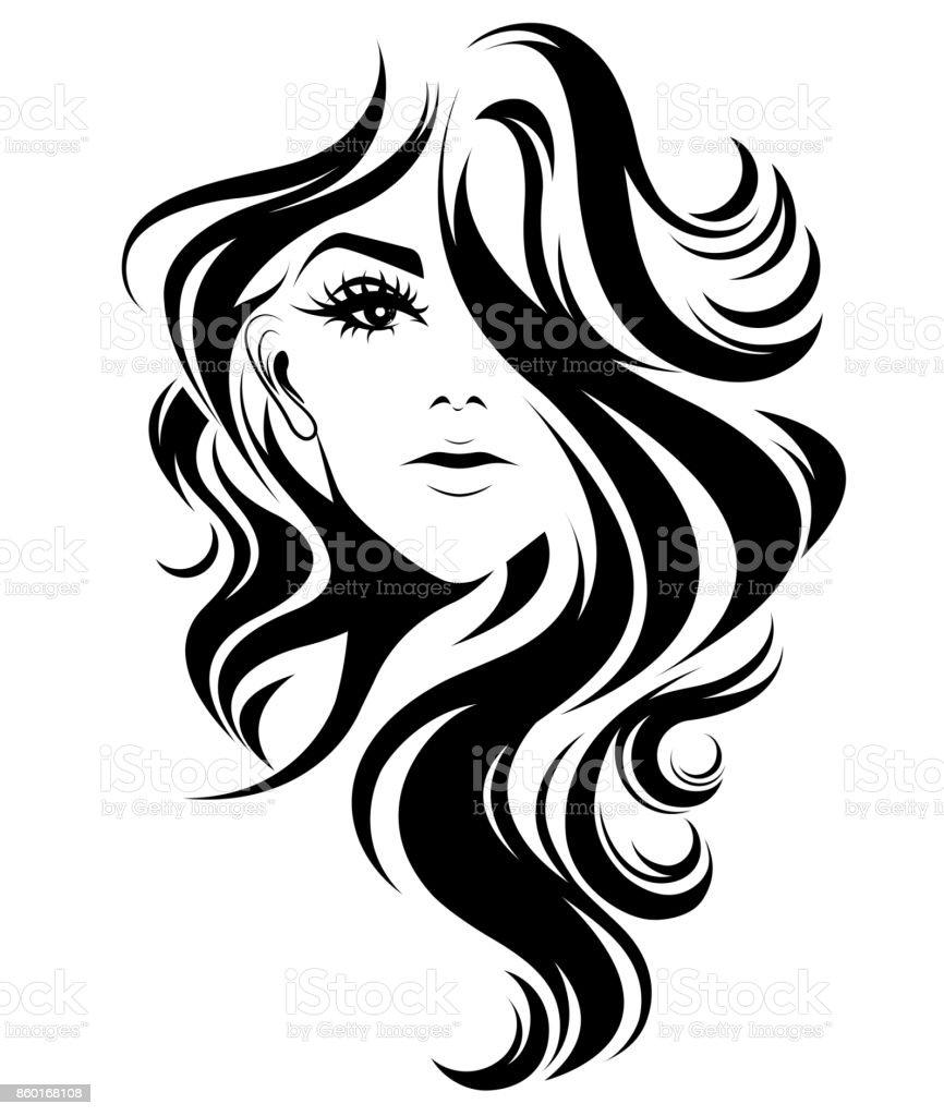 Women Long Hair Style Icon Logo Women On White Background