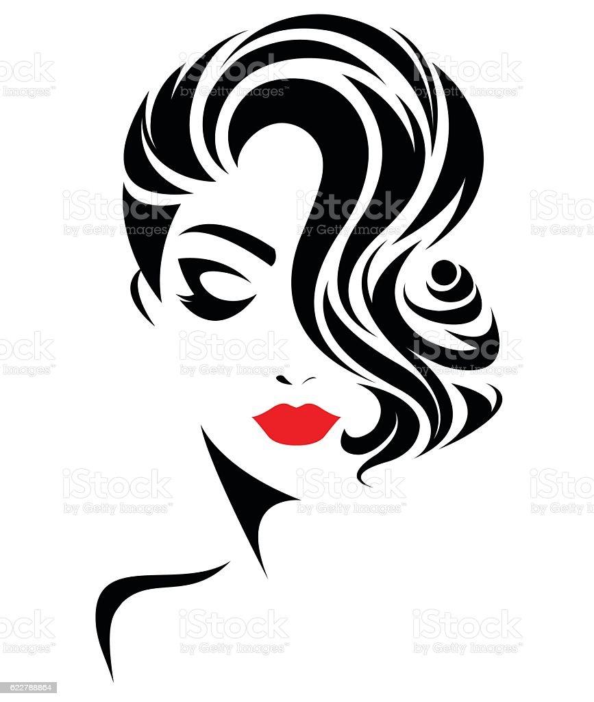 women short hair style icon logo