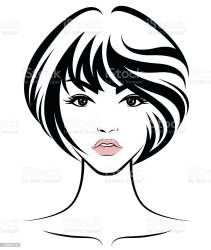 hair short face vector icon illustration clip woman female drawing abstract illustrations clipart long svg hairstyle sketch human vectors hairstyles