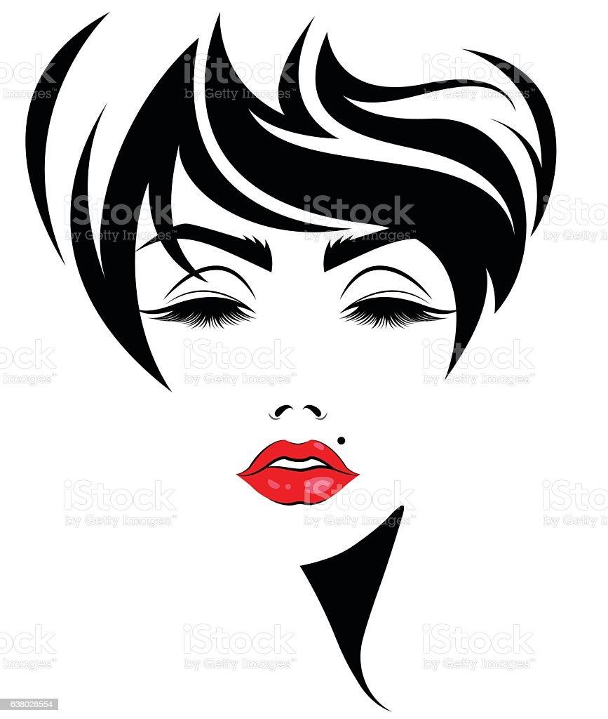 Women Short Hair Style Icon Logo Women Face stock vector
