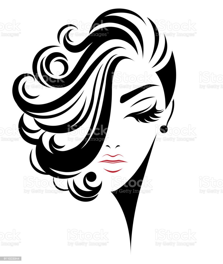Women Short Hair Style Icon Logo Women On White Background