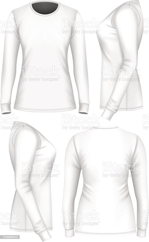 Long Sleeve Shirt Vector : sleeve, shirt, vector, Women, Tshirt, Sleeve, Stock, Illustration, Download, Image, IStock
