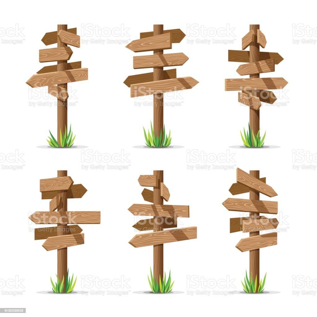 https www istockphoto com fr vectoriel enseignes en fl c3 a8che en bois blanc set vector gm648008858 117690933