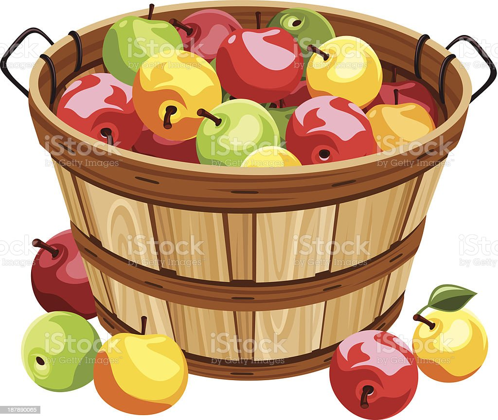 royalty free apple basket clip