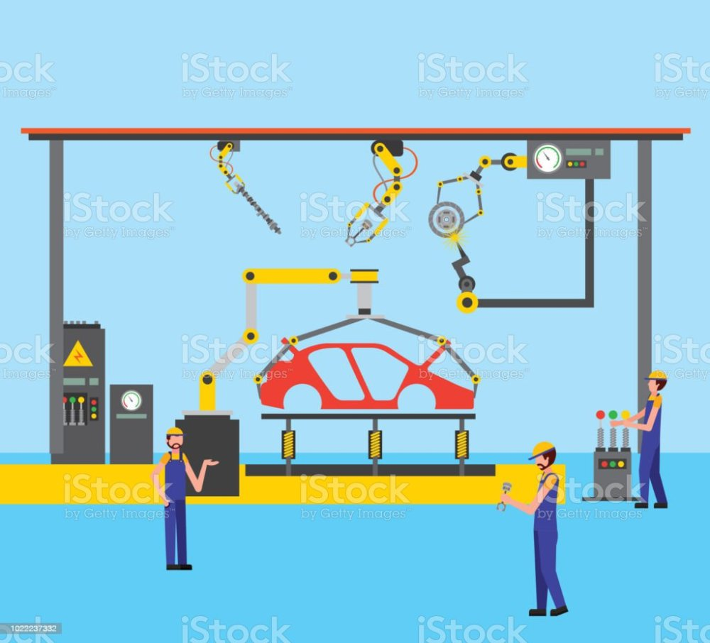 medium resolution of workers robot arms and assembly line automotive industry royalty free workers robot arms and assembly