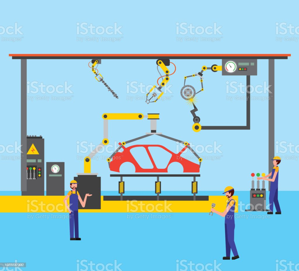 hight resolution of workers robot arms and assembly line automotive industry royalty free workers robot arms and assembly